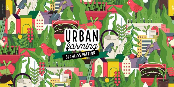 Urban farming and gardening pattern Urban farming, gardening or agriculture seamless pattern. urban gardening stock illustrations