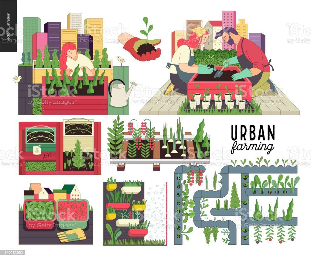 都市農業と園芸セット ベクターアートイラスト