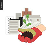 Urban farming, gardening or agriculture. Sign logo - a hand wearing gauntlet holding a sprout, with city buildings on the background