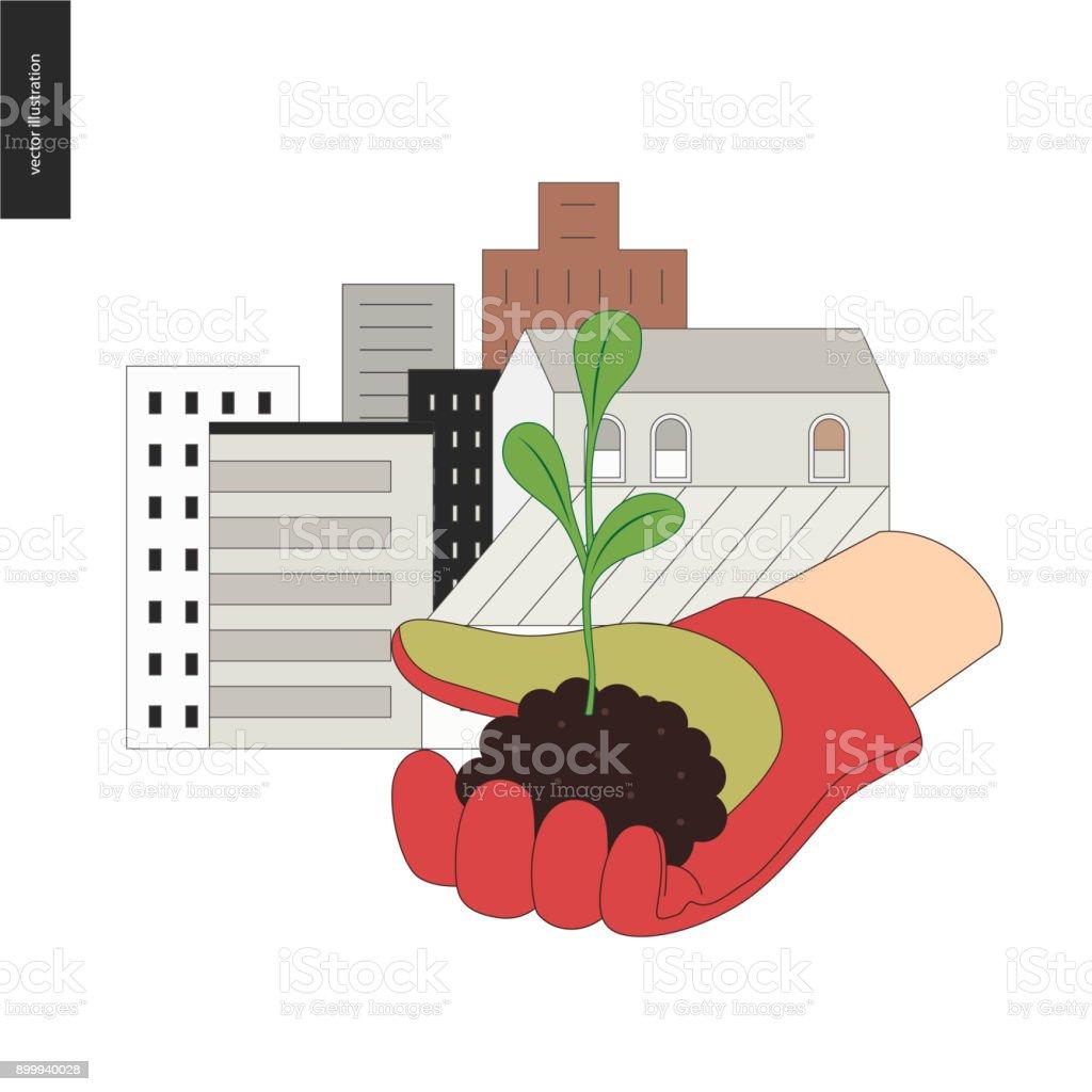 Urbane Landwirtschaft und Gartenbau Zeichen – Vektorgrafik