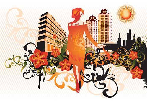 Urban Flowers-vektorgrafik och fler bilder på Arkitektur