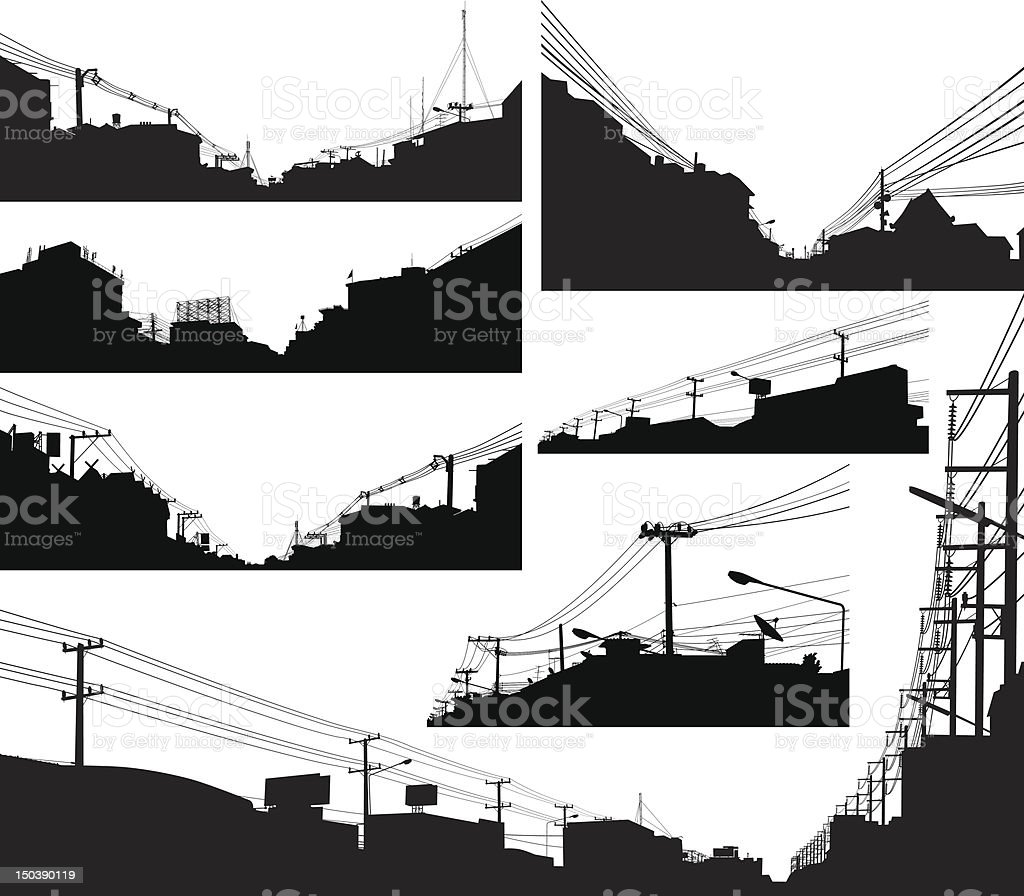 Urban foreground silhouettes vector art illustration