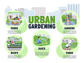 Urban gardening flat color vector informational infographic template. Farms poster, booklet, PPT page concept design with cartoon characters. City parks advertising flyer, leaflet, info banner idea