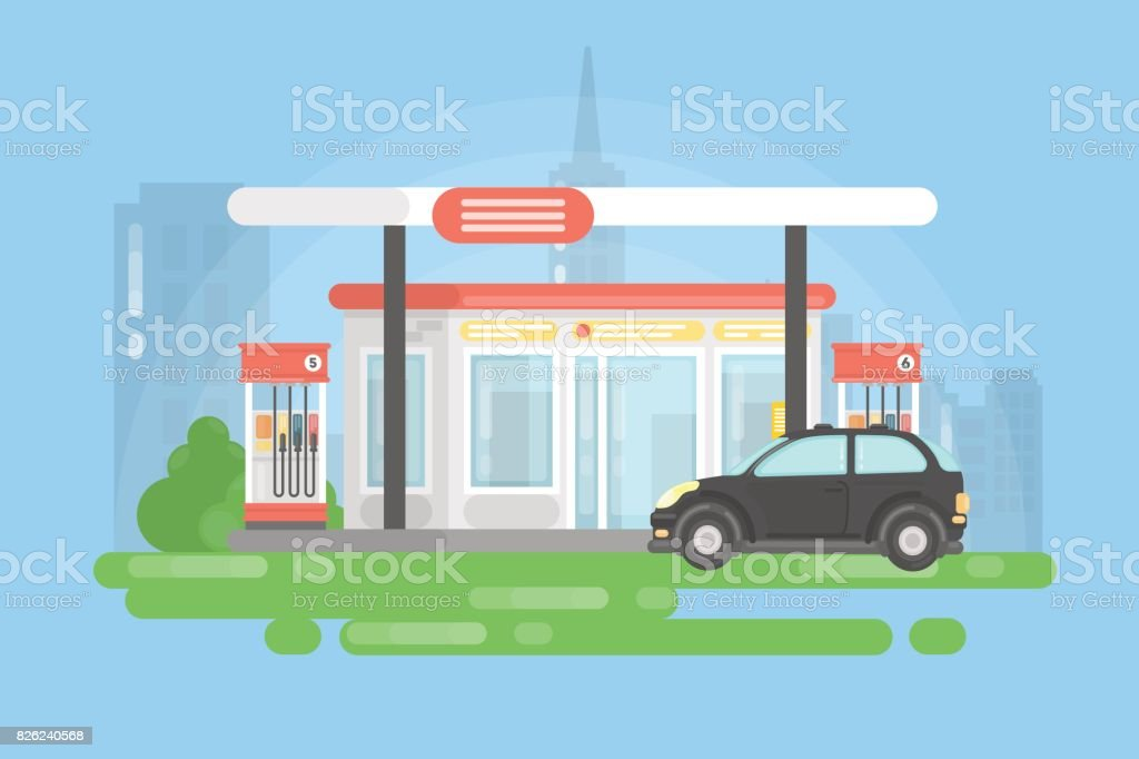 Urban gas station. royalty-free urban gas station stock illustration - download image now