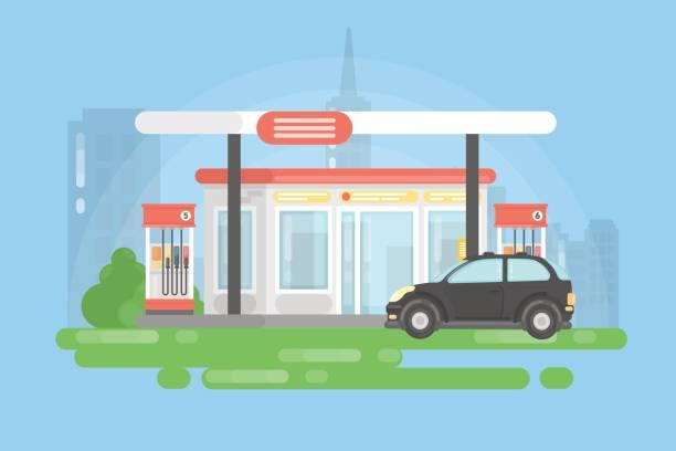 Urban gas station. vector art illustration