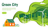 Urban Green City Concept. Huge Green Wave With Green City And Nature Pictured Inside Connecting To The House With Solar Panels Fitted To The Roof. Flat Style Vector Illustration On White Background.