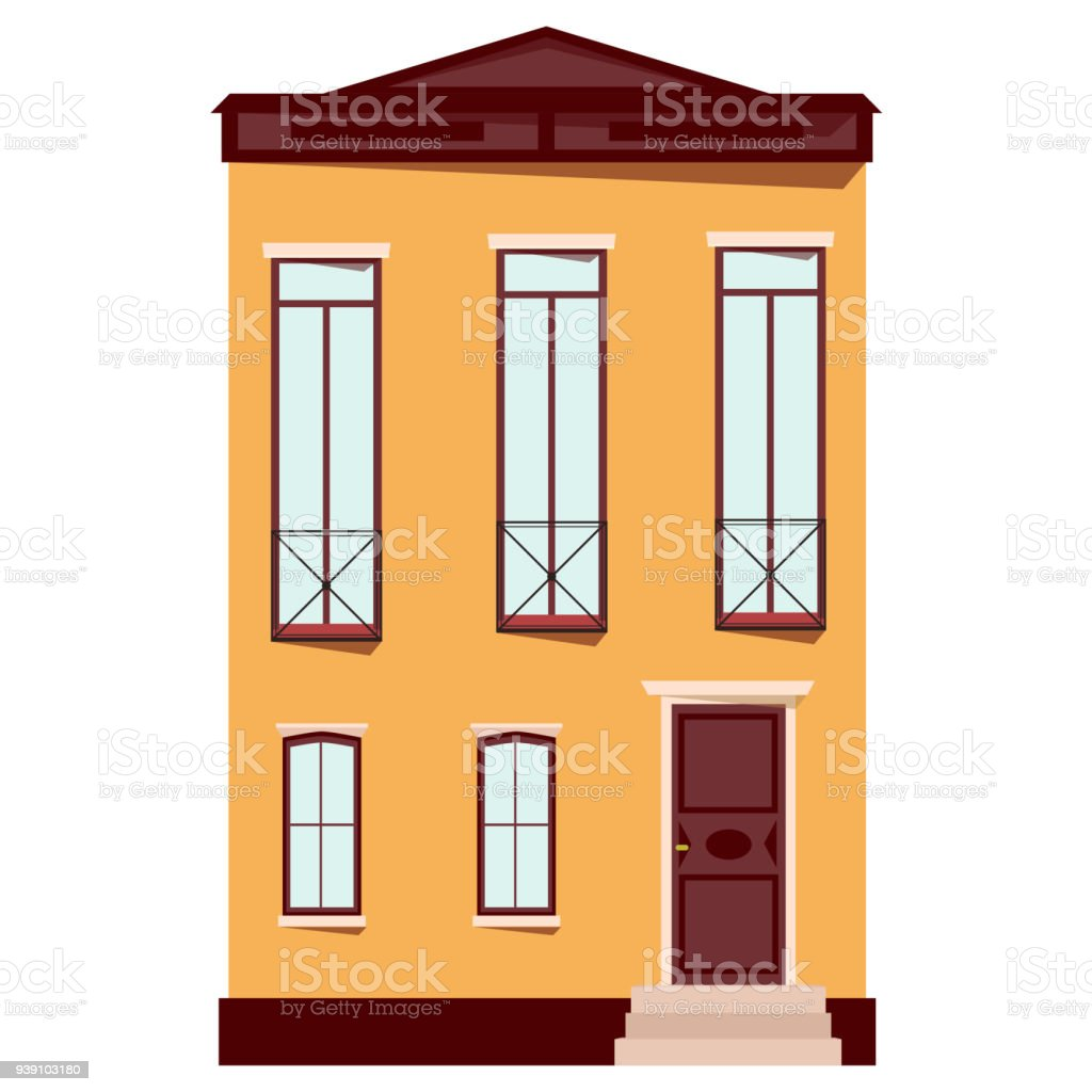 Urban House In Flat Design Old Buildings In European Style Isolated ...