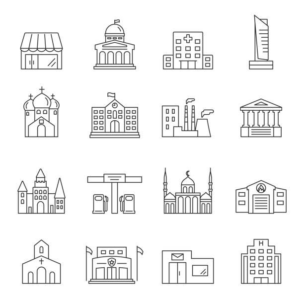 Stadtinfrastruktur-Umrisssymbole gesetzt – Vektorgrafik