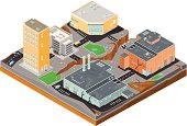 A vector illustration of an earthquake taking place in an urban scene.