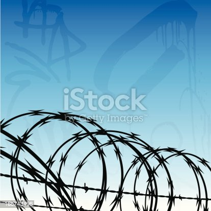 Urban crime / prison background with copy space.