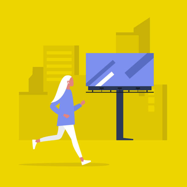 ilustrações de stock, clip art, desenhos animados e ícones de urban jogging, young female character running in the morning, cityscape with buildings and billboards - young woman running city