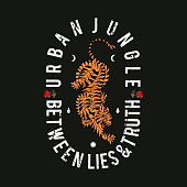 Urban jungle slogan. Tiger with roses. Rock and roll patch. Typography graphic print, fashion drawing for t-shirts. Vector stickers,print, patches vintage