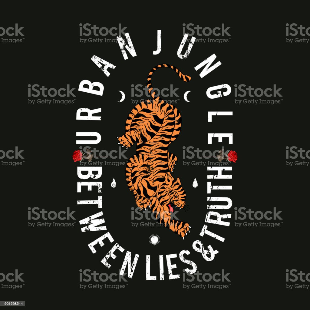 Urban jungle slogan. Tiger with roses. Rock and roll patch. Typography graphic print, fashion drawing for t-shirts. Vector stickers,print, patches vintage vector art illustration