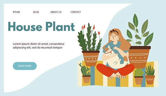 Urban jungle website with woman petting her cat in room with houseplants, flat vector illustration. Scandinavian urban greenery at home concept of web banner.