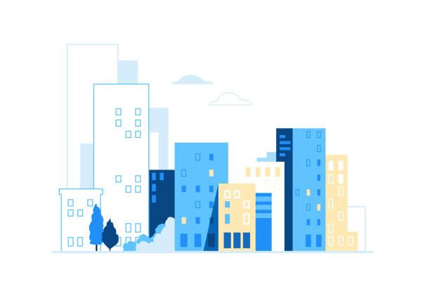 Urban landscape. City skyline background. Buildings silhouette vector illustration vector art illustration