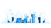 Urban landscape. City skyline. Cityscape background with road and cars vector illustration