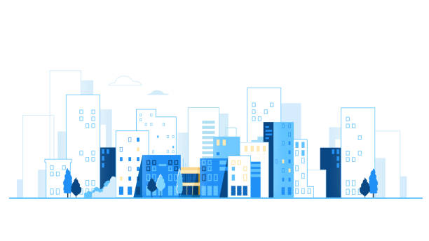 ilustraciones, imágenes clip art, dibujos animados e iconos de stock de paisaje urbano. skyline de la ciudad. fondo urbano con ilustraciones vectoriales de carreteras y coches - ciudad