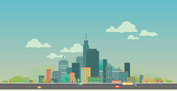 urban landscape. flat city. - apartment stock illustrations, clip art, cartoons, & icons