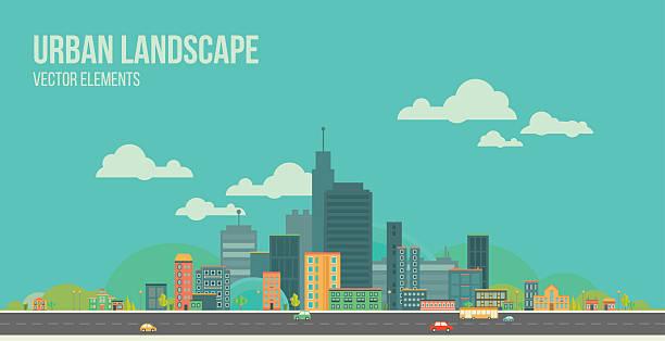 Urban landscape. Flat city. Modern vector illustration of urban landscape. Flat city. Set of buildings. Creative background. Panorama ziek stock illustrations