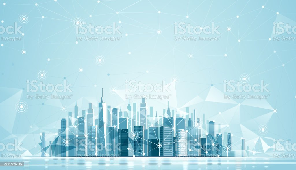 Urban Landscape Global network vector art illustration