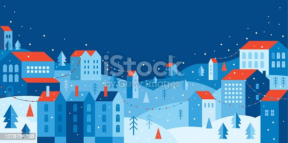 istock Urban landscape in a geometric minimal flat style. New year and Christmas winter city among snowdrifts, falling snow, trees and festive garlands. Abstract horizontal banner with space for the text. 1278754808