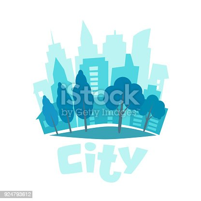 istock Urban landscape in flat style. City skyline vector illustration. Blue city silhouette icon. Urban life. City background 924793612