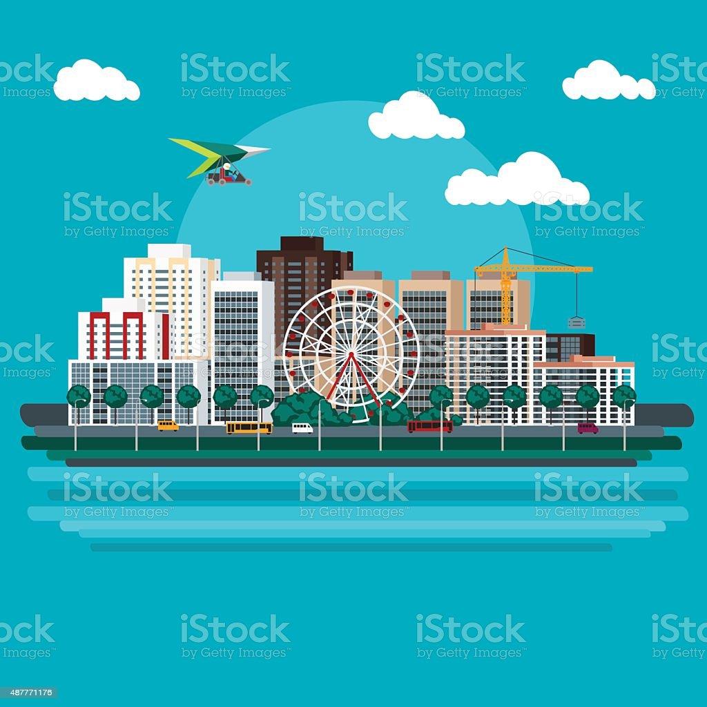 Urban landscape in the flat style vector art illustration