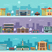 Urban landscape in winter season. Snowy weather. Vector pictures in cartoon style. Urban city street winter weather illustration