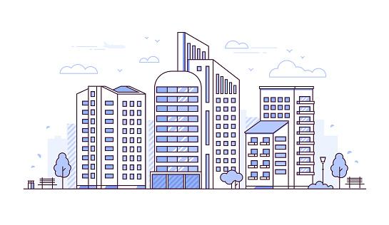 Urban landscape - modern thin line design style vector illustration clipart