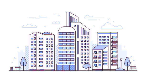 Urban landscape - modern thin line design style vector illustration Urban landscape - modern thin line design style vector illustration on white background. Purple colored high quality composition with skyscrapers, lantern, bench, trees, bin. City architecture concept cityscape stock illustrations