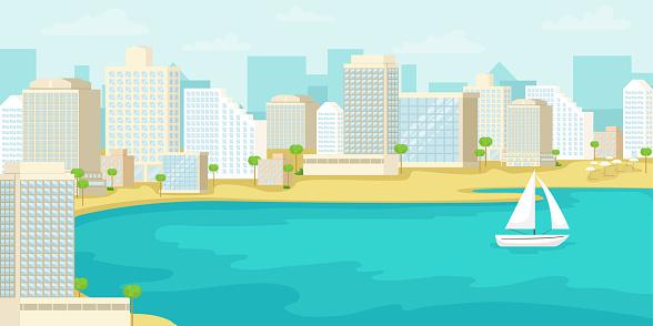 Urban landscape of the Tel Aviv coast. Israel. Vector illustration.