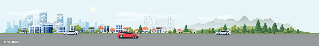 Flat vector cartoon style illustration of urban landscape street with cars, skyline city office buildings, family houses in small town and mountain with green trees in backround. Traffic on the road.