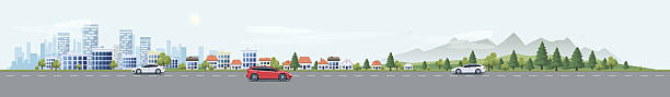 urban landscape street road with cars and city nature background - panorama stock-grafiken, -clipart, -cartoons und -symbole