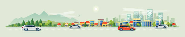 urban landscape street road with cars and mountain city skyline background - панорамный stock illustrations