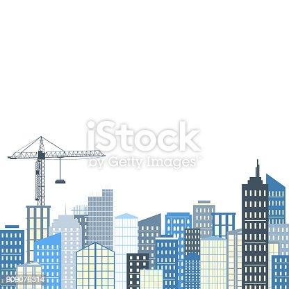 istock Urban landscape. Vector illustration. City background, grey and blue palette 909076314