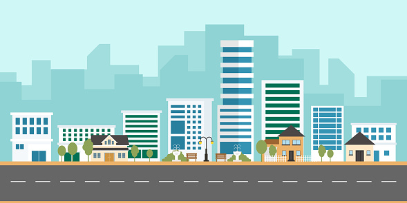 Urban landscape vector with modern buildings and suburb with private houses on a background. Housing apartment and city life. Cityscape with houses and town, flat illustration cartoon style.