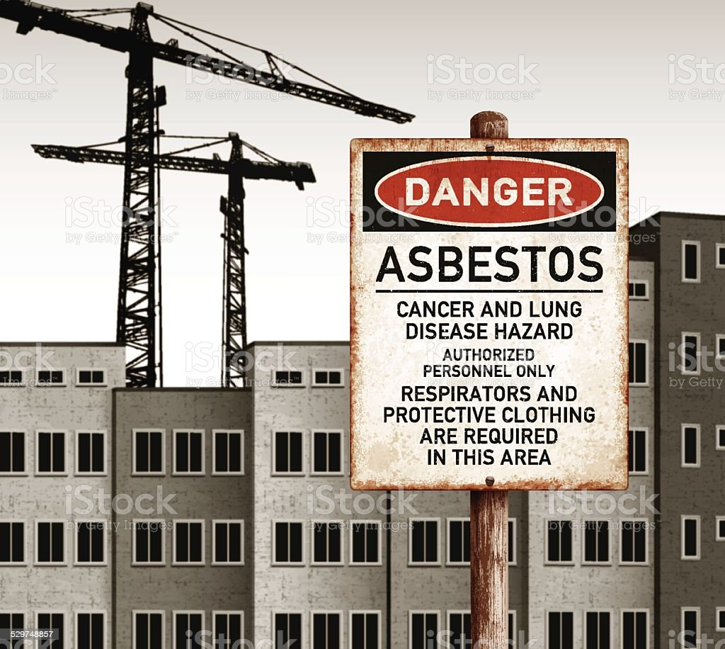 urban landscape with empty buildings and danger asbestos placard vector art illustration