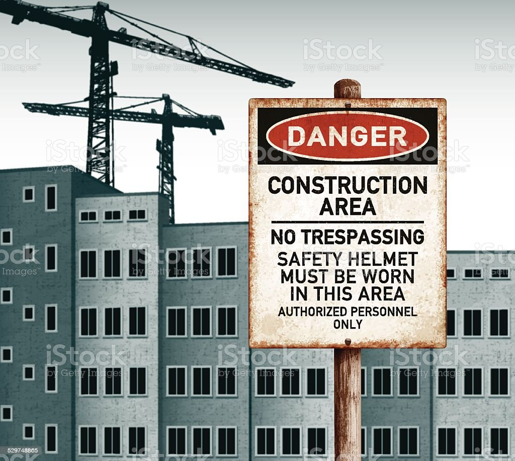 urban landscape with empty buildings and danger construction area placard vector art illustration