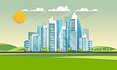 istock Urban landscape with high futuristic skyscrapers. Vector illustration. 1049259562