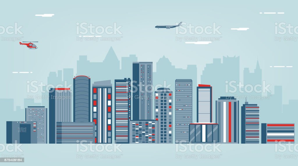urban landscape with infographic elements modern city smart city