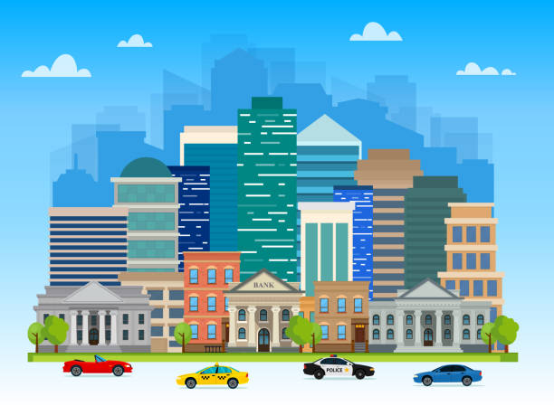 Urban landscapes with buildings, skyscrapers, banks, universities and family houses. Traffic on the road. Vector illustration. vector art illustration