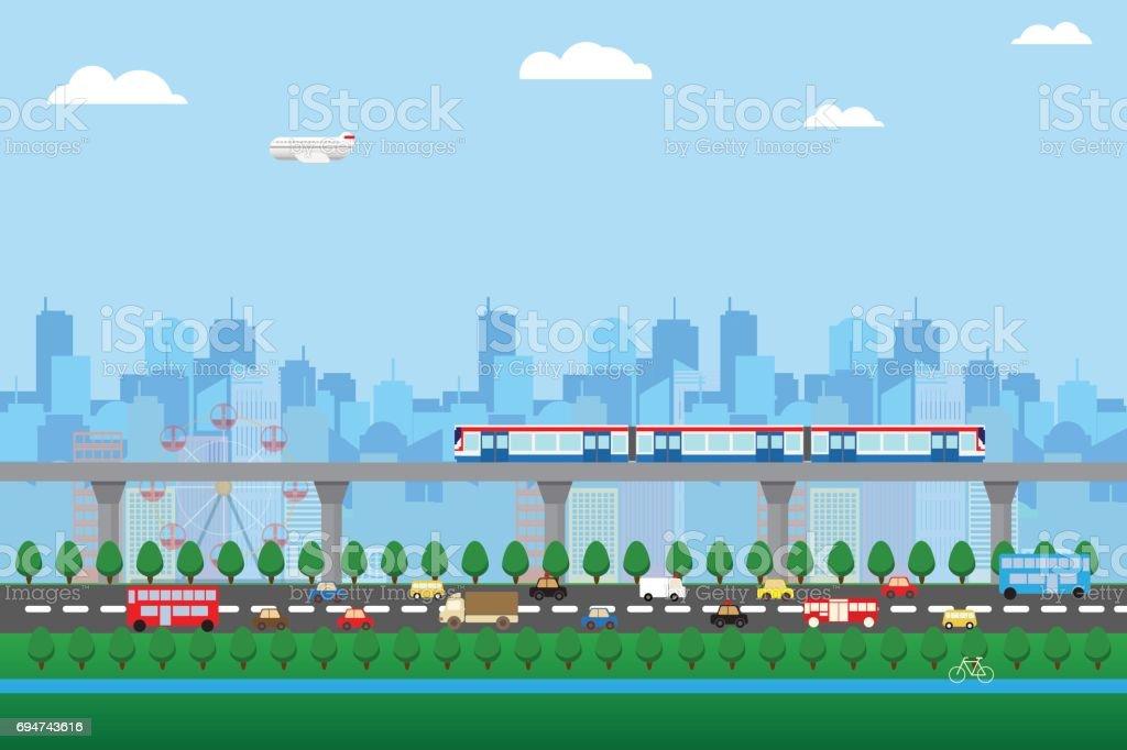 都市生活緑地景観背景 ベクターアートイラスト
