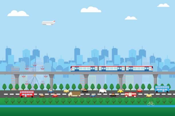 urban life green zone cityscape background - illustrazione arte vettoriale
