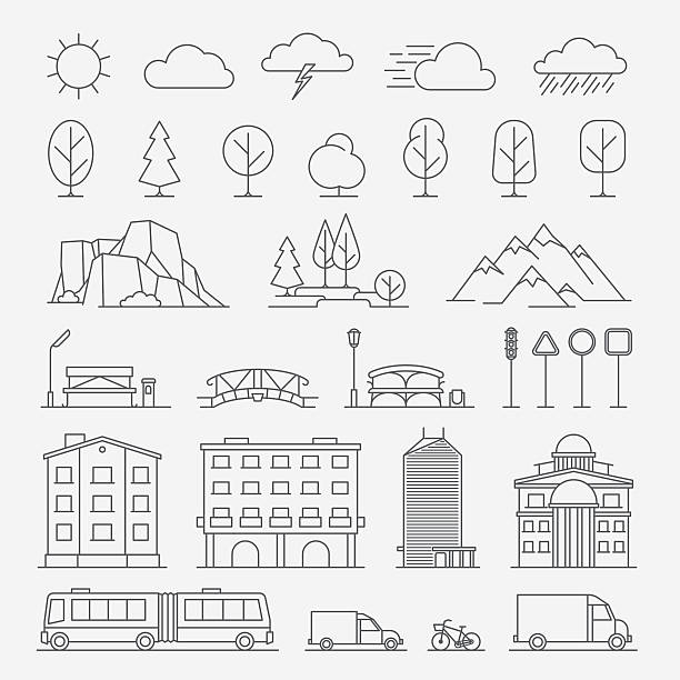 Urban line icons vector art illustration