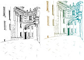 Urban line sketch with landscape of the old European city. Valencia. Spain. Old street in hand drawn style on white background.