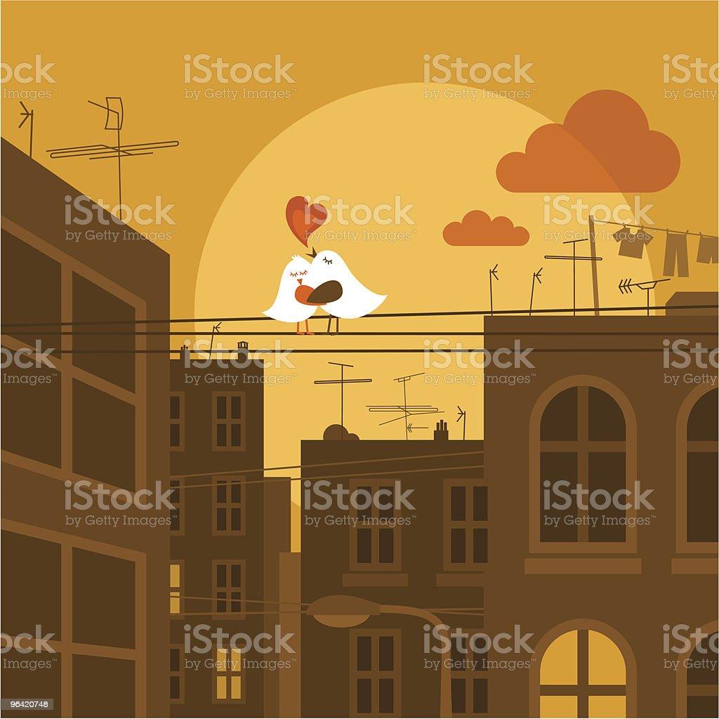 Urban lieben. Süße Vogel Stadt sunset Vektor-illustration - Lizenzfrei Antenne Vektorgrafik