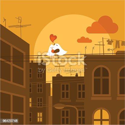 istock Urban love. Cute bird city sunset illustration vector 96420748
