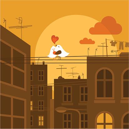 Urban Lieben Süße Vogel Stadt Sunset Vektorillustration Stock Vektor Art und mehr Bilder von Antenne