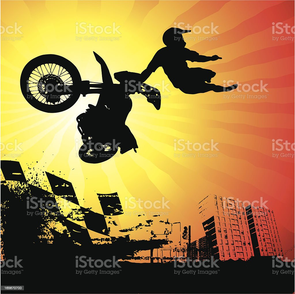 Urban Motocross Rider in Action royalty-free stock vector art