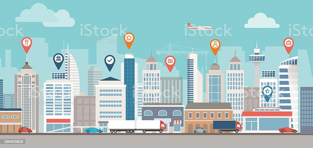Urban navigation City skyline, street and location pins: urban lifestyle and navigation concept Airplane stock vector